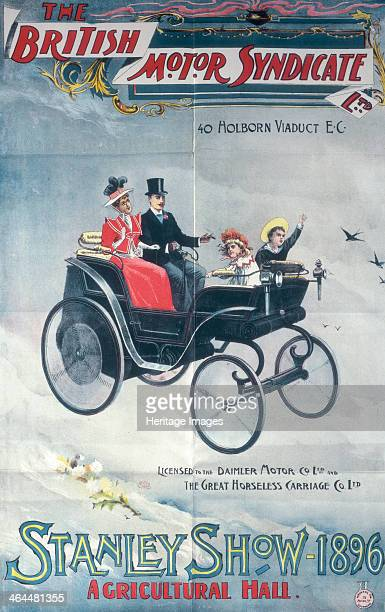 Poster advertising the British Motor Syndicate Stanley Show 1896 A family in a veteran car floating through the clouds