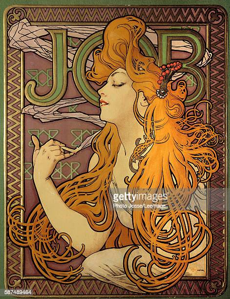 Poster advertising the cigarette paper 'Job' Lithography by Alphonse Mucha Library of the Arts Decoratifs Paris