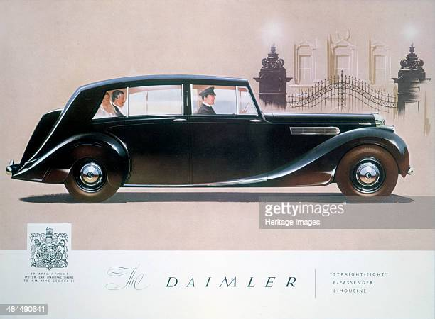 Poster advertising the Daimler Straight 8 limousine 1947 A wealthy couple sit in the back of the limousine Their chauffeur driven car pulls up...