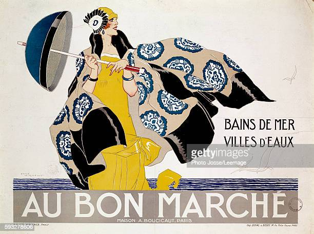 Poster advertising the Department stores 'Au Bon Marche' for articles of the 'Sea swimming and Spas' Illustration by Rene Vincent Library of the Arts...
