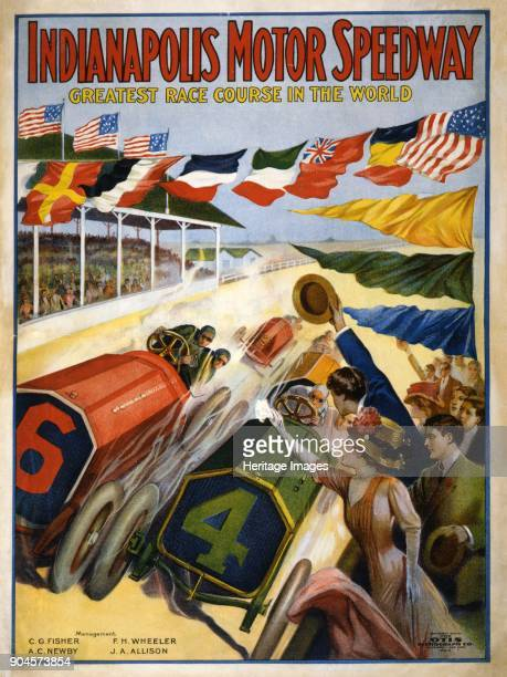 Poster advertising The Indianapolis Motor Speedway pub c1909