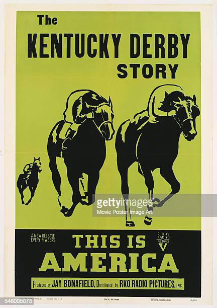 A poster advertising 'The Kentucky Derby Story' one of the 'This is America' documentary shorts by RKO Radio Pictures 1949