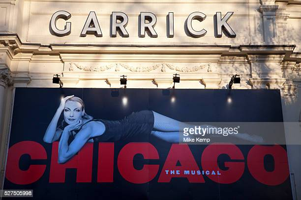 Poster advertising the musical Chicago at the Garrick Theatre using the image of one of it's original stars Ute Lemper This is one of Theaterland's...