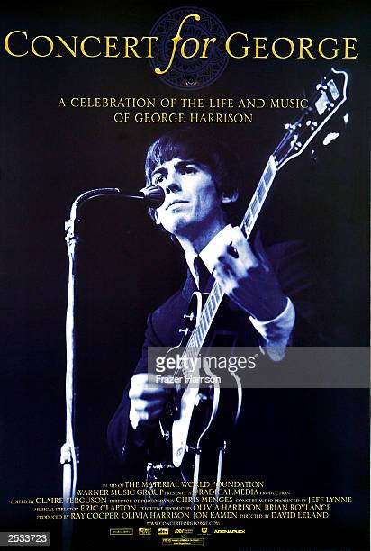 A poster advertising the new documentary film celebrating the music of George Harrison through performances by legendary musicians is seen at the...