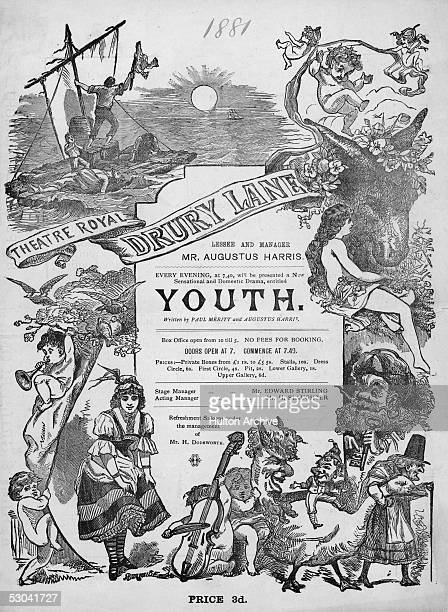 A poster advertising the play 'Youth' written by Paul Meritt and Augustus Harris at the Theatre Royal Drury Lane 1881