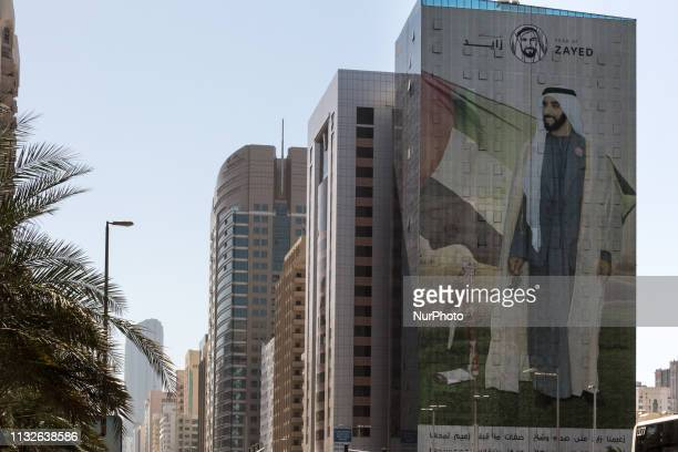 A poster advertising The Year of Zayed in honour of the late Sheikh Zayed bin Sultan Al Nahyan in Abu Dhabi United Arab Emirates March 182019...
