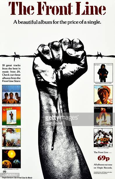 Poster advertising Virgin Records' reggae sampler album The Front Line 1976 Photography and design by Cooke Key Associates