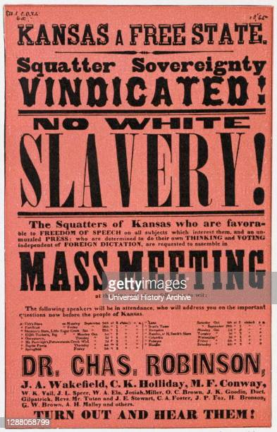 Poster against slavery in Kansas, 19th century.
