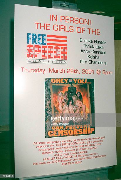 A poster announcing a rally for the Freedom Of Speech Coalition hangs outside a Hollywood Hustler store Celebrities Nina Hartley Brooke Hunter...