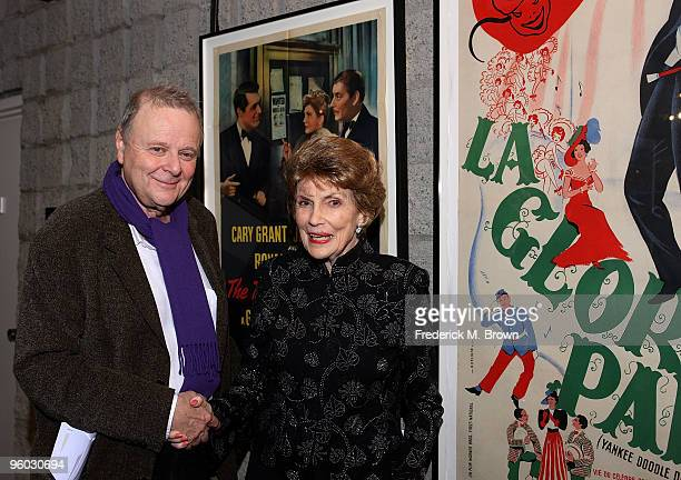 Poster art collector Mike Kaplan and actress Joan Leslie attend the Academy of Motion Picture Arts and Sciences' Opening Reception for their Winter...