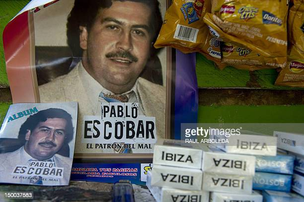 A poster at a stall in the Santo Domingo Savio shantytown in Medellin Antioquia department Colombia advertises a theme album about the life of late...