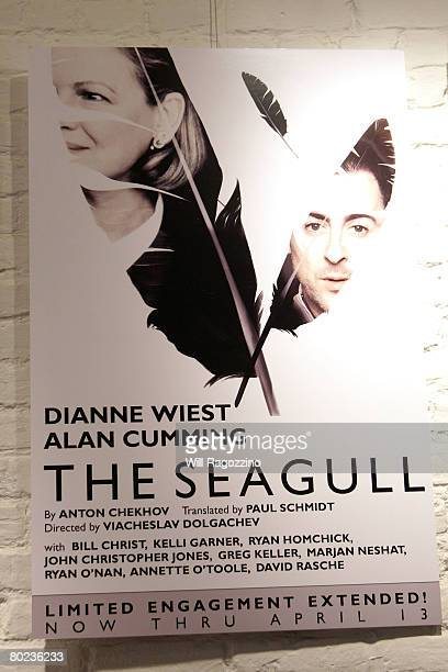 Poster at the opening of Antov Chekhov's 'The Seagull' starring Dianne Wiest and Alan Cumming at The Classic Stage Company on March 13, 2008 in New...