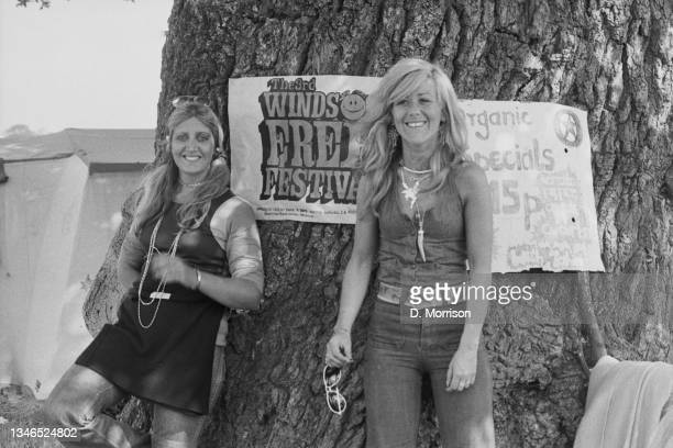Poster at the Windsor Free Festival in Windsor Great Park, and one for organic specials, UK, 25th August 1974.