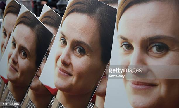 Poster boards showing a photograph of Jo Cox are seen during a memorial event for murdered Labour MP Jo Cox at Trafalger Square on June 22 2016 in...