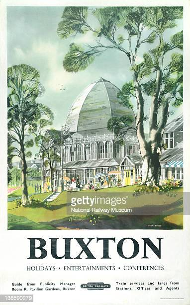 Poster British Railways London Midland Region Buxton by Ronald A Maddox 1958 Depicts a view of the Concert Hall in Pavilion Gardens with the...