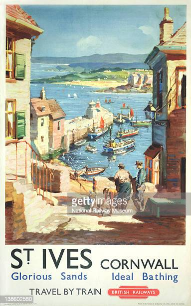 Poster British Railways St Ives Cornwall Glorious Sands Ideal Bathing