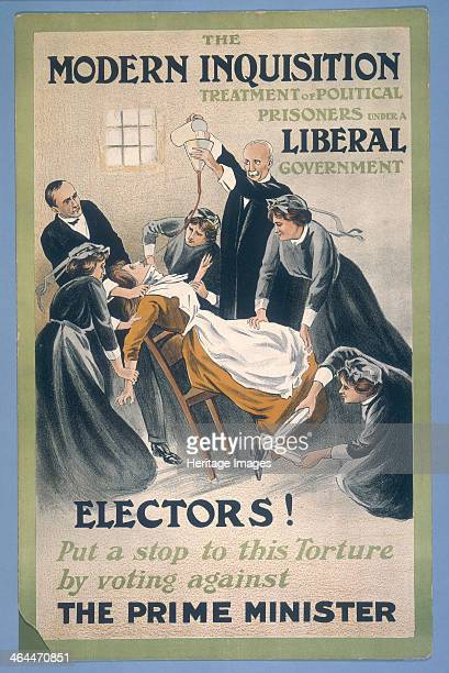 Poster by 'A Patriot' showing a suffragette prisoner being forcefed 1910 A doctor pours liquid food down a tube which has been stuffed up the...