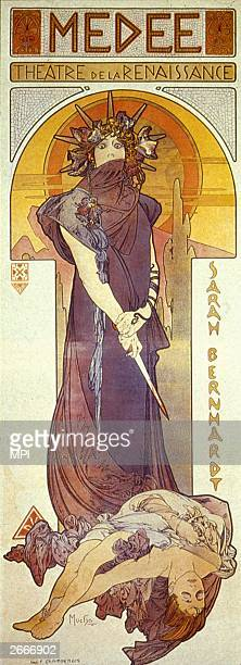 Poster by Alphonse Mucha for the play 'Medee' starring the French actress Sarah Bernhardt .