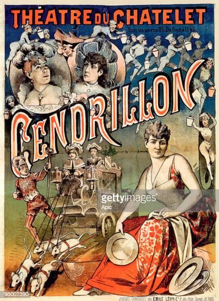 Poster by Emile Levy for show 'Cendrillon ou la Pantoufle merveilleuse' theatre du Chatelet Paris 1889 Cinderella or the magic slipper