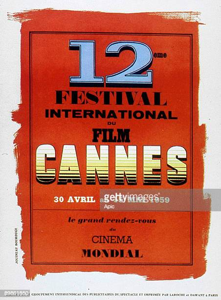 Poster by Jouineau Bourduge for 12th International Film Festival in Cannes in 1959