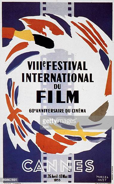 Poster by Marcel Huet for 8th International Film Festival in Cannes in 1955