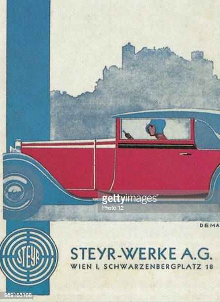 Poster by the SteyrWerke AG company for one of its new type of cabriolets elegantly designed