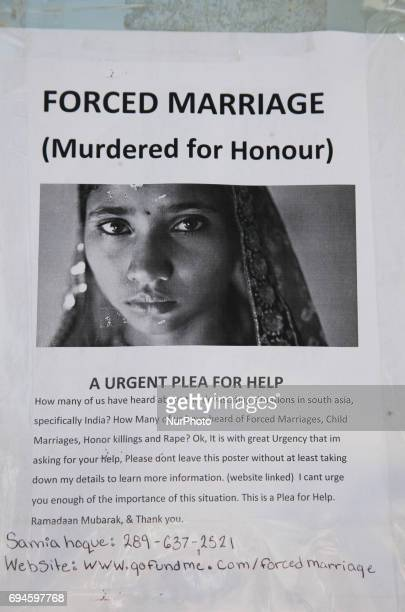 Poster calling for a plea for help to alleviate issues in South Asia such as forced marriage child marriage honour killings and rape These posters...