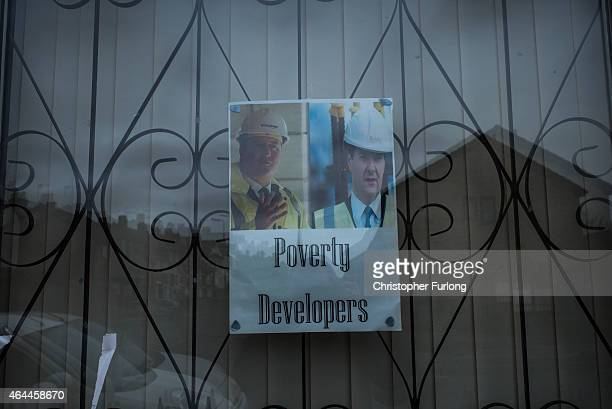 Poster campaigning against the conservative party sits in the window of a home in Toxteth, Liverpool, Local campaigners are calling for the area to...
