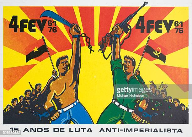 Poster celebrating victory for the MPLA in the Angolan war of liberation against the Portrugese colonizers. Poster celebrating victory for the MPLA...