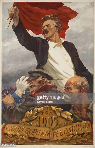 Poster commemorating the 50th Anniverary of the 1905 Russian Revolution man raises red flag as 2 others fight uniformed unseen soldiers