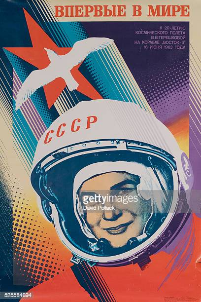 Poster commemorating the June 19 1963 flight of Valentina Tereshkova first woman astronaut Image of hemeted astronaut with red star and white dove