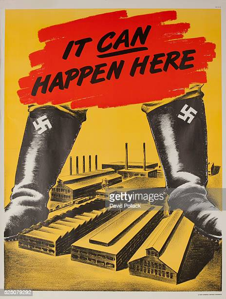 1942 poster corporate motivation published by General Electric The treat of Nazi domination is illustrated by a pair of boots with Swaztikas towering...