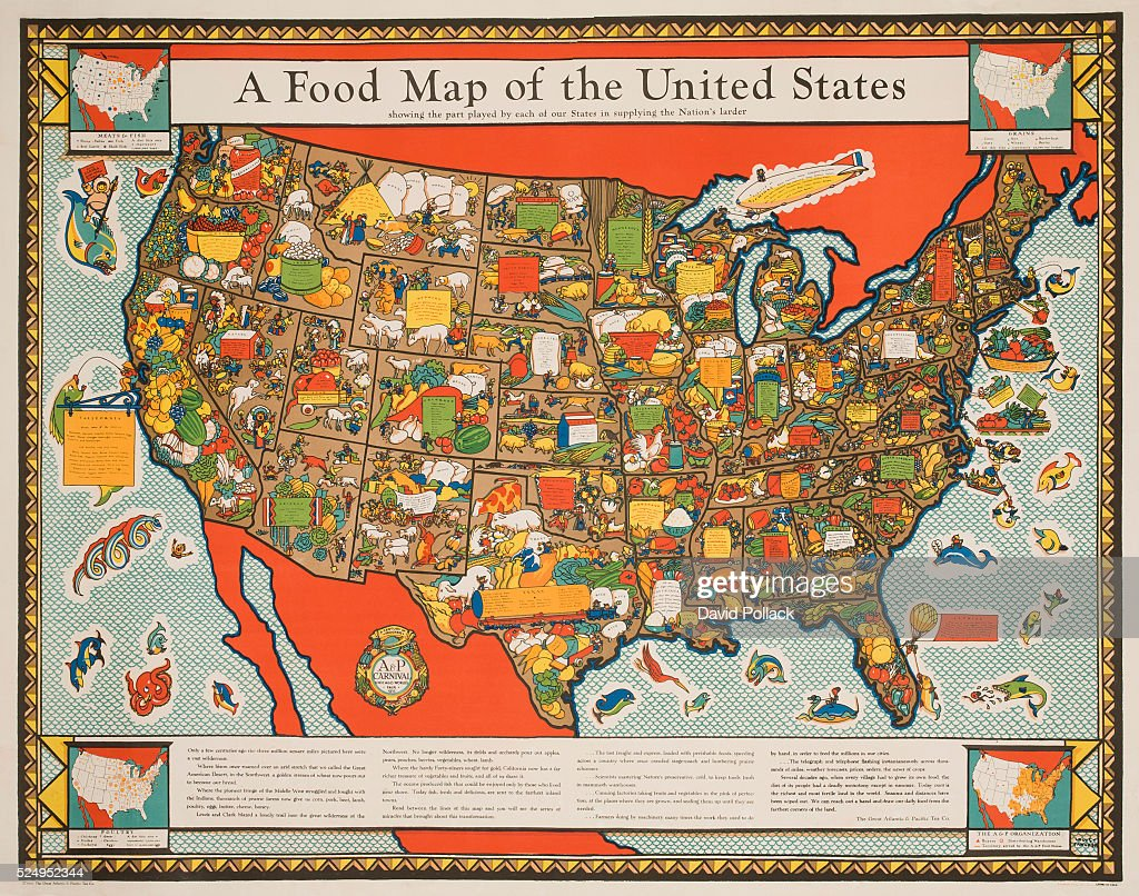 A food map of the united states pictures getty images 1933 poster created by ap for the chicago worlds fair map of the united states sciox Gallery