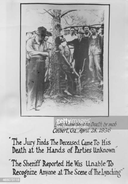 A poster depicting a lynching with quotations protesting the response by police and the United States congress Colbert Georgia March 28 1936