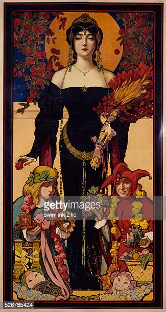 Poster Depicting a Woman with a Child and a Jester