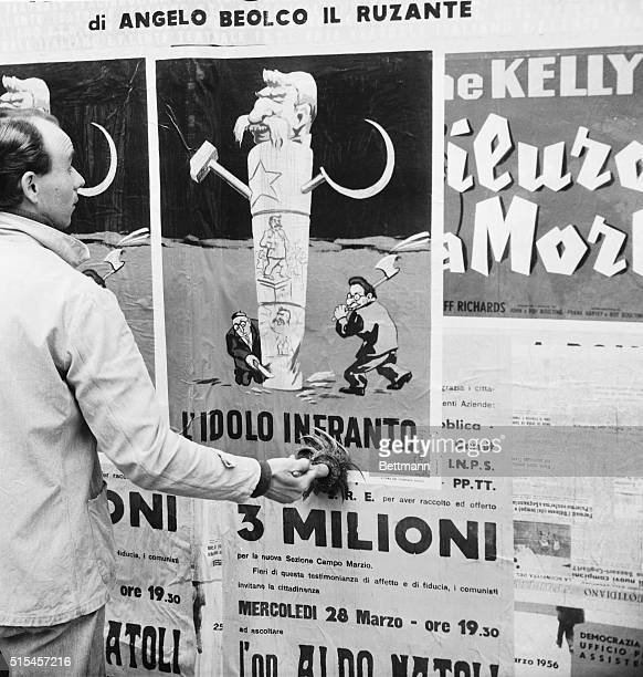A poster depicting an Italian attitude about the new Russian Communist line of criticism of Joseph Stalin is pasted up in Rome Titled L'Idolo...
