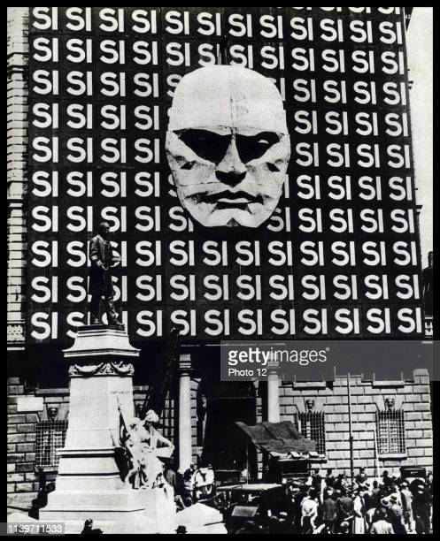 Poster depicting Benito Mussolini Italian politician journalist and leader of the National Fascist Party 1935