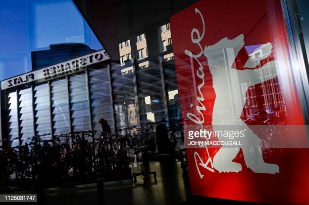 A poster depicting the logo of the Berlin film festival is pictured at the Potsdamer Platz during the 69th Berlinale film festival on February 15...