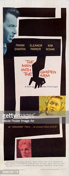 A poster designed by Saul Bass for Otto Preminger's 1955 drama 'The Man with the Golden Arm' starring Frank Sinatra Kim Novak and Eleanor Parker