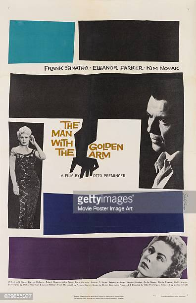 A poster designed by Saul Bass for Otto Preminger's 1955 drama 'The Man with the Golden Arm' starring Frank Sinatra Kim Novak and Eleanor Parker The...