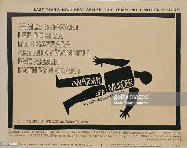A poster designed by Saul Bass for Otto Preminger's 1959 crime film 'Anatomy of a Murder'
