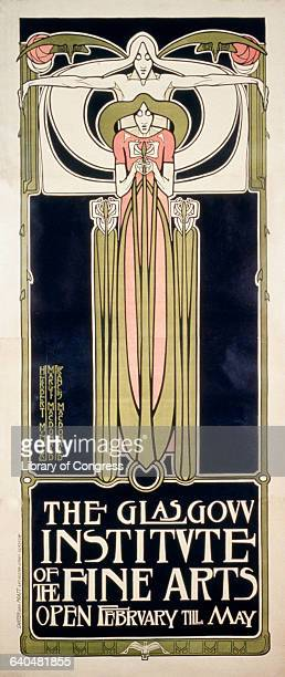 A poster designed by three members of the Glasgow Four an influential design team known for their Art Nouveau style