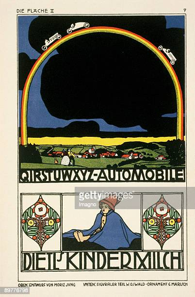 Poster designs for an automotive factory and a dairy company Design by Moriz Jung Wenzel Oswald und Gustav Marisch In Die Fläche volime II p 7...
