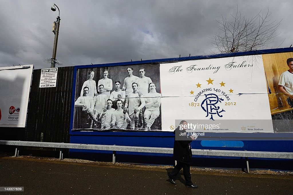 A poster displays the founding Rangers football team on a billboard outside Ibrox Stadium, home to Glasgow Rangers Football Club on April 24, 2012 in Glasgow, Scotland. Rangers have received a 12 month transfer embargo and a GBP 160,000 fine from the Scottish FA, while current owner Craig Whyte as been banned for life from any involvement in Scottish Football.