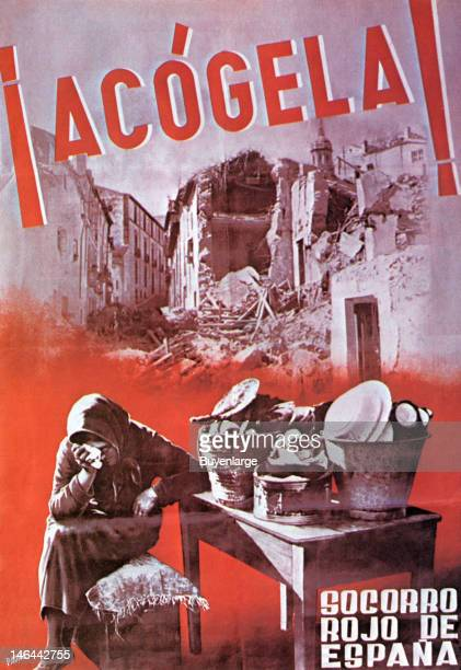 Poster entitled 'Acogela!' , Spain, 1937. Photomontage of a weeping women whose home is pictured in ruins from bombing; all of her remaining worldly...