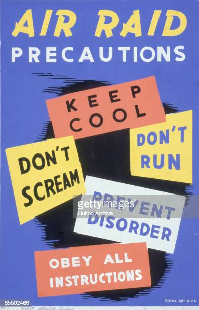 Poster entitled 'Air Raid Precautions' lists instructions over an spare abstract design Pennsylvania early 1940s