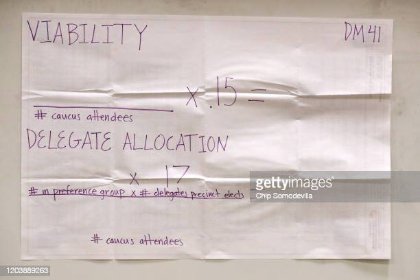 A poster explains the allocation of delegate count at a caucus at Roosevelt High School February 03 2020 in Des Moines Iowa Iowa is the first contest...