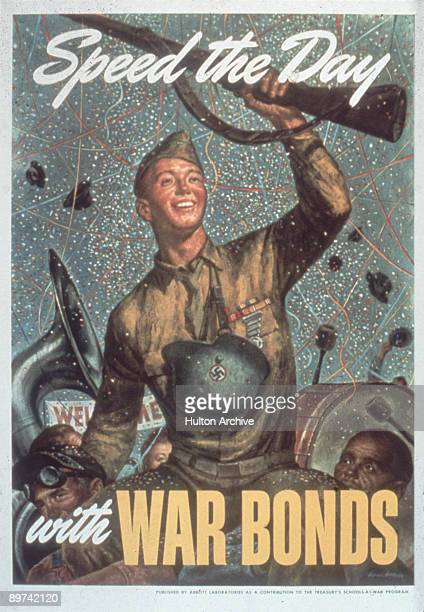 Poster features a young soliders as he celebrates his return home during a ticker tape parade accompanied by the text 'Speed the Day with War Bonds'...