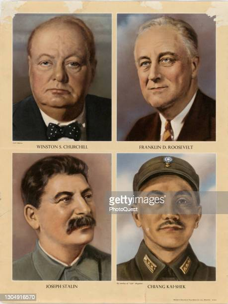 Poster features illustrated portraits of four Allied leaders during World War II, circa 1943. Pictured are, top row, British Prime Minister Winston...