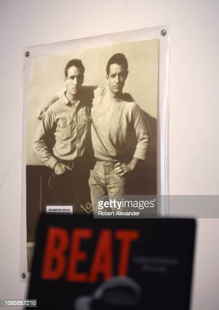 SAN FRANCISCO CALIFORNIA SEPTEMBER 16 2018 A poster featuring a photograph of 1950s Beat Generation figures Jack Kerouac and Neal Cassady is...